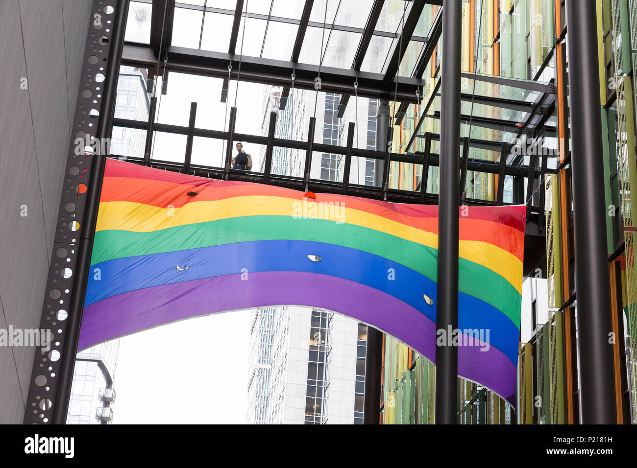 Seattle, Washington: Amazon Celebrates LGBTQ Pride Month with the raising of the pride flag at the Doppler building at Amazon Headquarters. - Stock Image