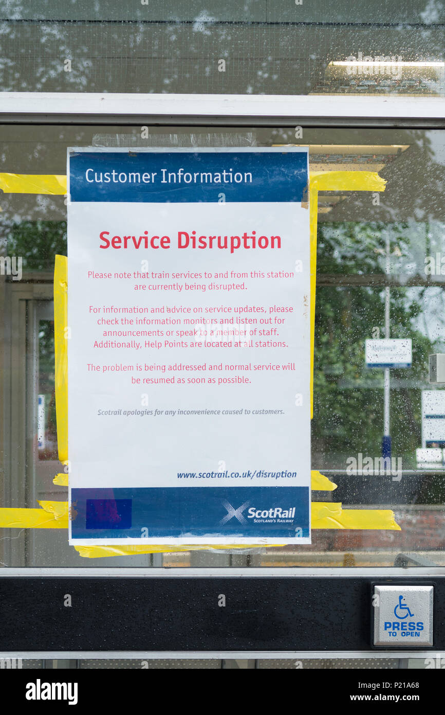 Dalreoch, West Dunbartonshire, Scotland, UK - 14 June 2018 - UK weather - notice taped to the entrance to Dalreoch train station in West Dunbartonshire as ScotRail continue to deal with fallen trees and overead wire damage at Saltcoats, Partick, Rutherglen, Dalreoch and Wemyss Bay due to Storm Hector Credit: Kay Roxby/Alamy Live News - Stock Image