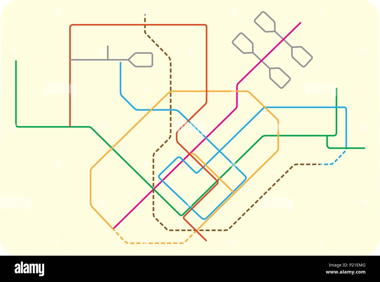 colored subway vector map of Singapore, asia - Stock Image