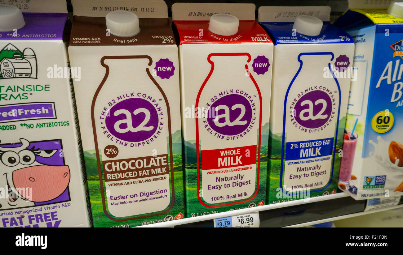 Half-gallon containers of A2 brand milk in a supermarket in New York on Friday, June 1, 2018. A2 milk is produced from cows whose milk lacks a protein associated with dyspeptic symptoms. The Australian based company has sold the milk in California since 2015 but is starting a marketing expansion into the Northeast U.S. where the big bucks in indigestion are located. Some cows naturally produce the A2 protein as opposed to the bloating causing A1 protein and the company breeds cows to conform. (© Richard B. Levine) - Stock Image