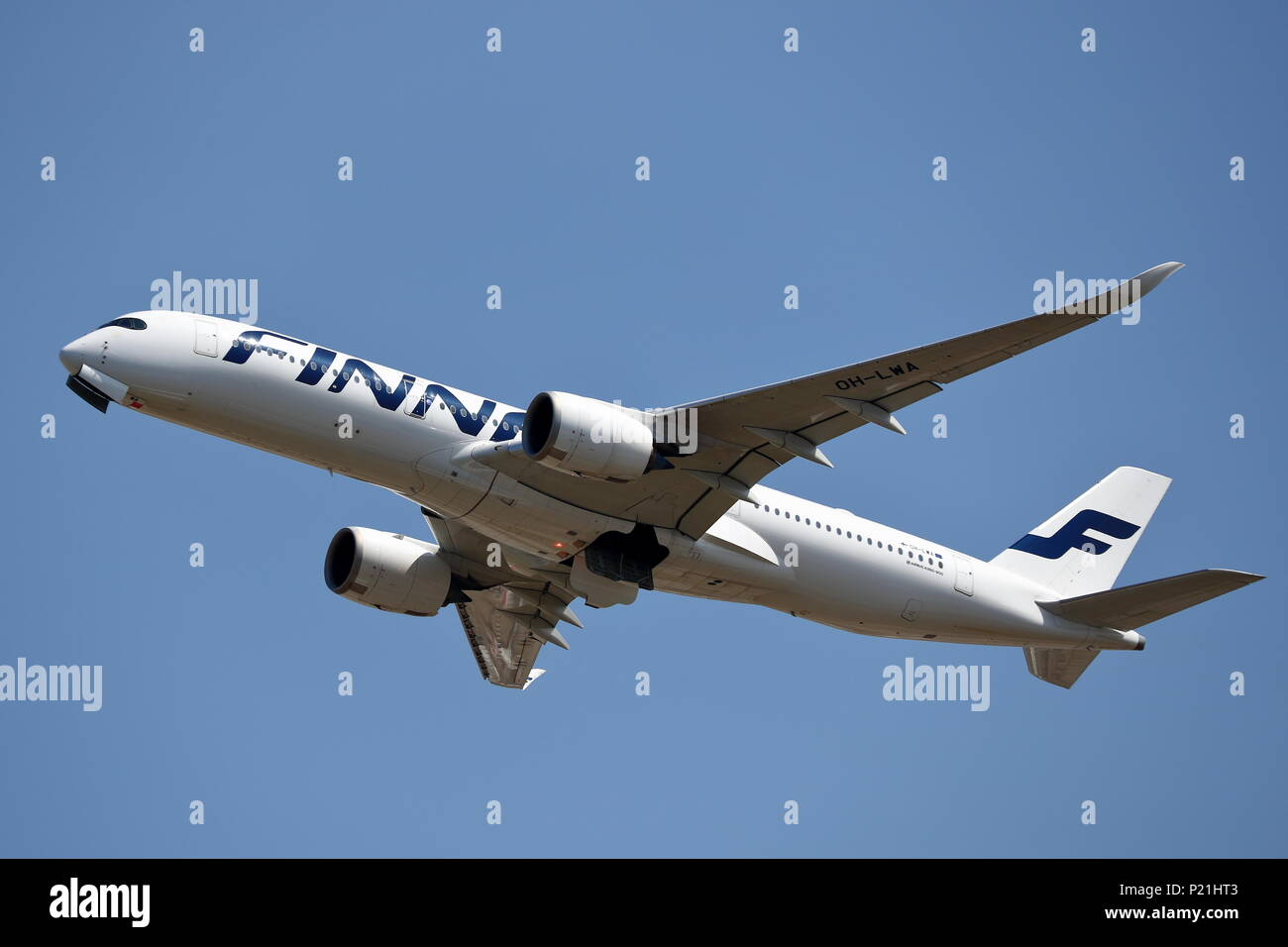 A Finnair Airbus A350-900 OH-LWA takes of from London Heathrow Airport, UK - Stock Image