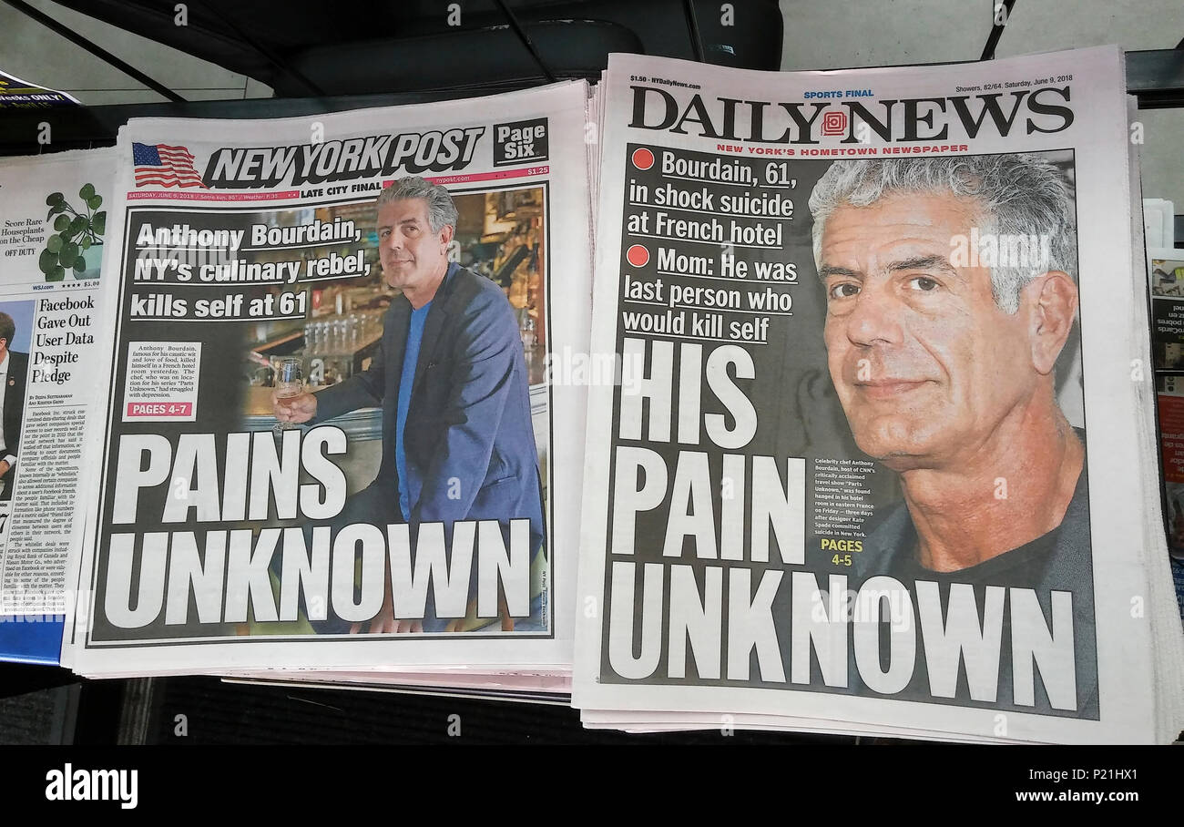 Front pages and headlines of the New York newspapers on Saturday, June 9, 2018 report on the previous days' suicide of celebrity chef and television personality Anthony Bourdain. (© Richard B. Levine) - Stock Image