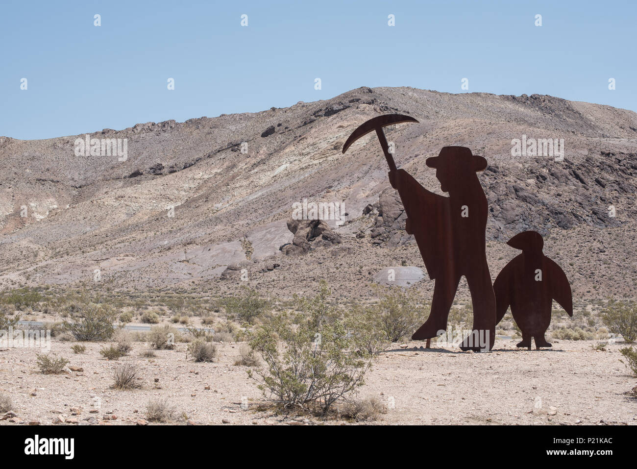 Goldwell  open air museum in Rhyolite historic gold mining ghost town,, Near Beatty, Nevada, USA - Stock Image
