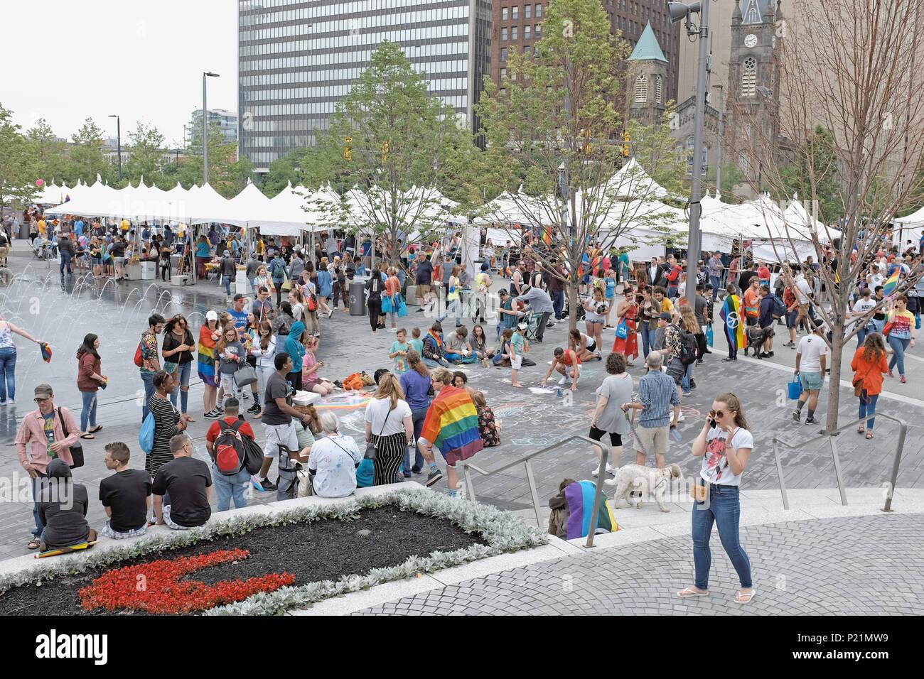 2018 LGBTQ Pride celebration in Public Square in downtown Cleveland, Ohio, USA - Stock Image