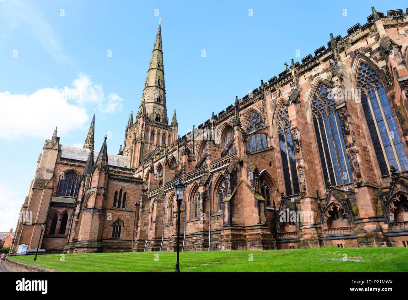 Lichfield Cathedral, Lichfield Staffordshire, England - Stock Image