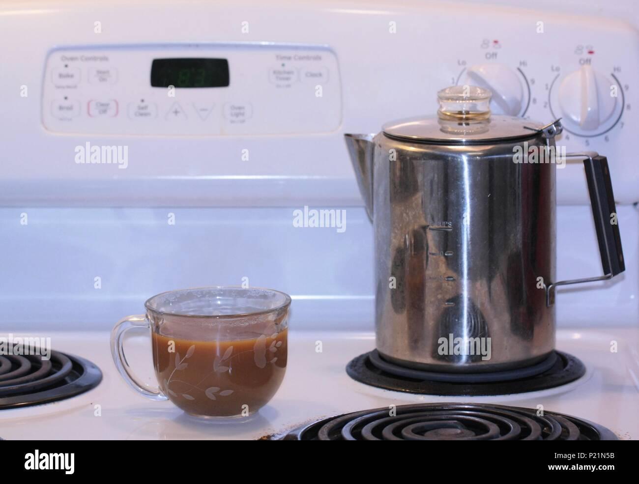 Hot Perked Coffee - Stock Image
