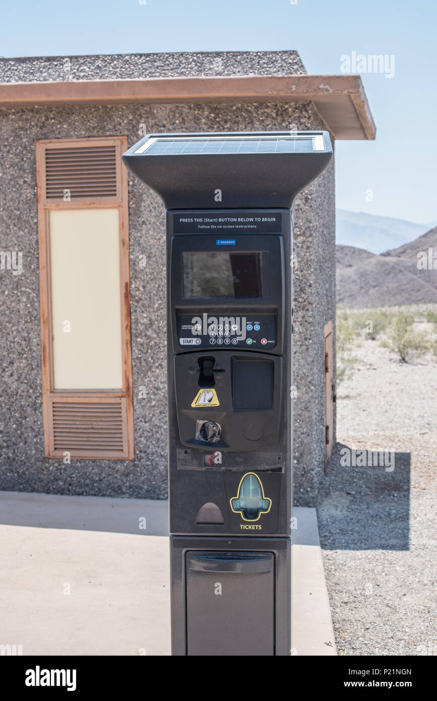Pay machine inside Death Valley national park, USA - Stock Image