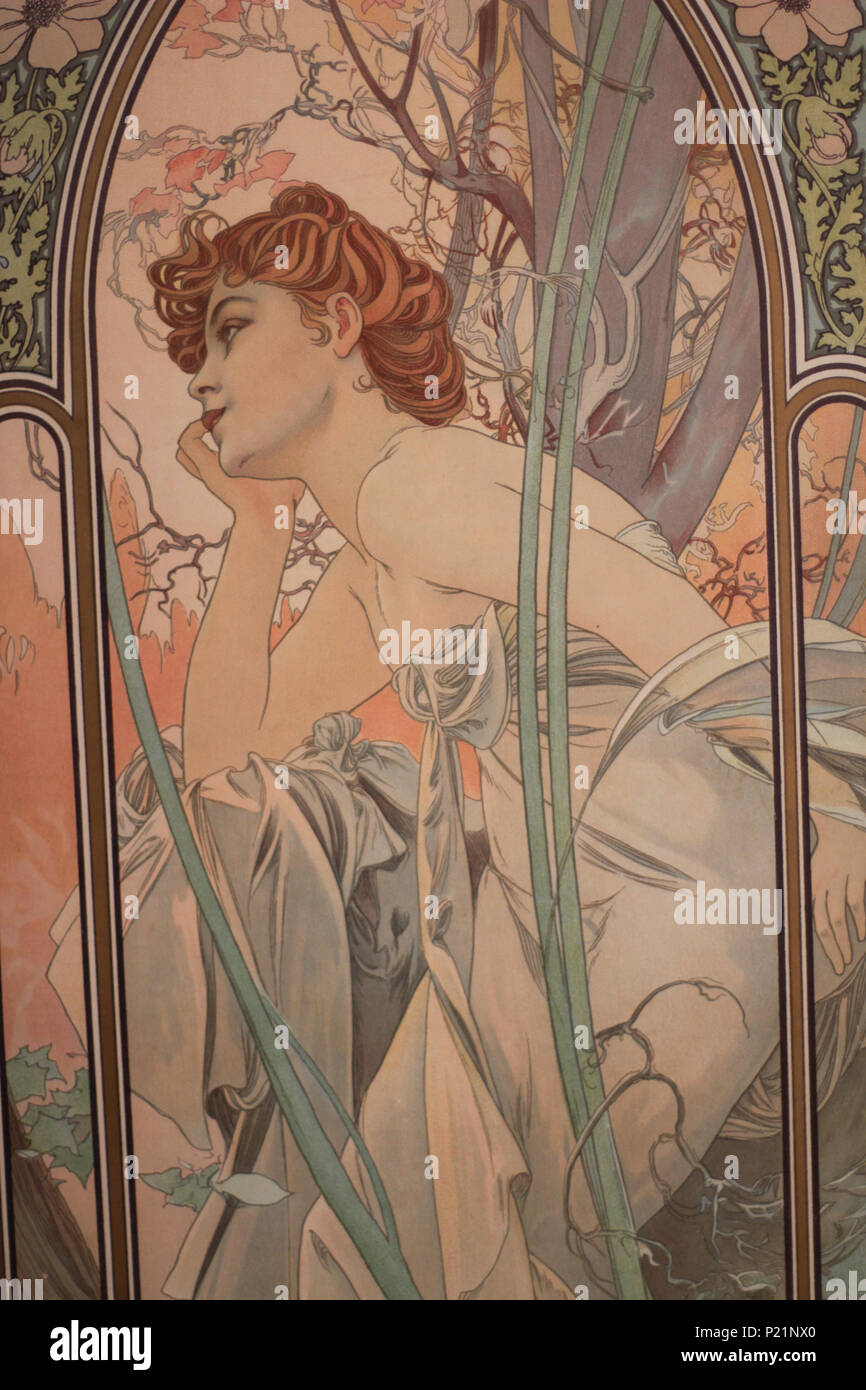 . Norsk bokmål: Alfons Mucha fotografert i Praha. English: Alphonse Mucha photographed in Prague. 5 May 2014, 14:04:45.   Alphonse Mucha (1860–1939)   Alternative names Alphonse Maria Mucha  Description Czech-Austro-Hungarian poster artist, lithographer, photographer, graphic designer, painter and postage stamp designer Czechoslovak photographer, painter, illustrator and patriot. Apart from his artistic production he was an advocate for the unification of Czekoslovakia for which he designed the first banknotes in 1918.  Date of birth/death 24 July 1860 14 July 1939  Location of birth/deat Stock Photo