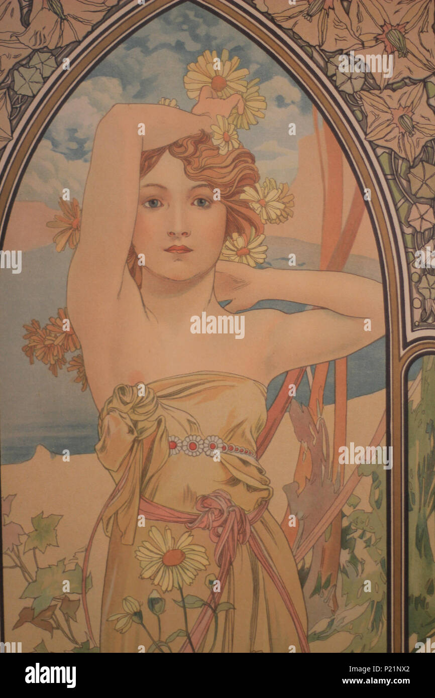 . Norsk bokmål: Alfons Mucha fotografert i Praha. English: Alphonse Mucha photographed in Prague. 5 May 2014, 14:05:23.   Alphonse Mucha (1860–1939)   Alternative names Alphonse Maria Mucha  Description Czech-Austro-Hungarian poster artist, lithographer, photographer, graphic designer, painter and postage stamp designer Czechoslovak photographer, painter, illustrator and patriot. Apart from his artistic production he was an advocate for the unification of Czekoslovakia for which he designed the first banknotes in 1918.  Date of birth/death 24 July 1860 14 July 1939  Location of birth/deat Stock Photo