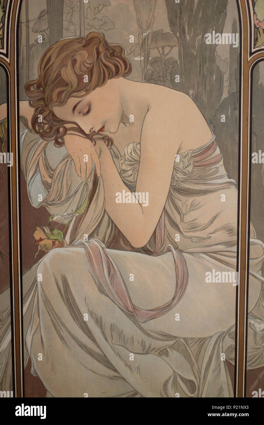 . Norsk bokmål: Alfons Mucha fotografert i Praha. English: Alphonse Mucha photographed in Prague. 5 May 2014, 14:06:41.   Alphonse Mucha (1860–1939)   Alternative names Alphonse Maria Mucha  Description Czech-Austro-Hungarian poster artist, lithographer, photographer, graphic designer, painter and postage stamp designer Czechoslovak photographer, painter, illustrator and patriot. Apart from his artistic production he was an advocate for the unification of Czekoslovakia for which he designed the first banknotes in 1918.  Date of birth/death 24 July 1860 14 July 1939  Location of birth/deat Stock Photo
