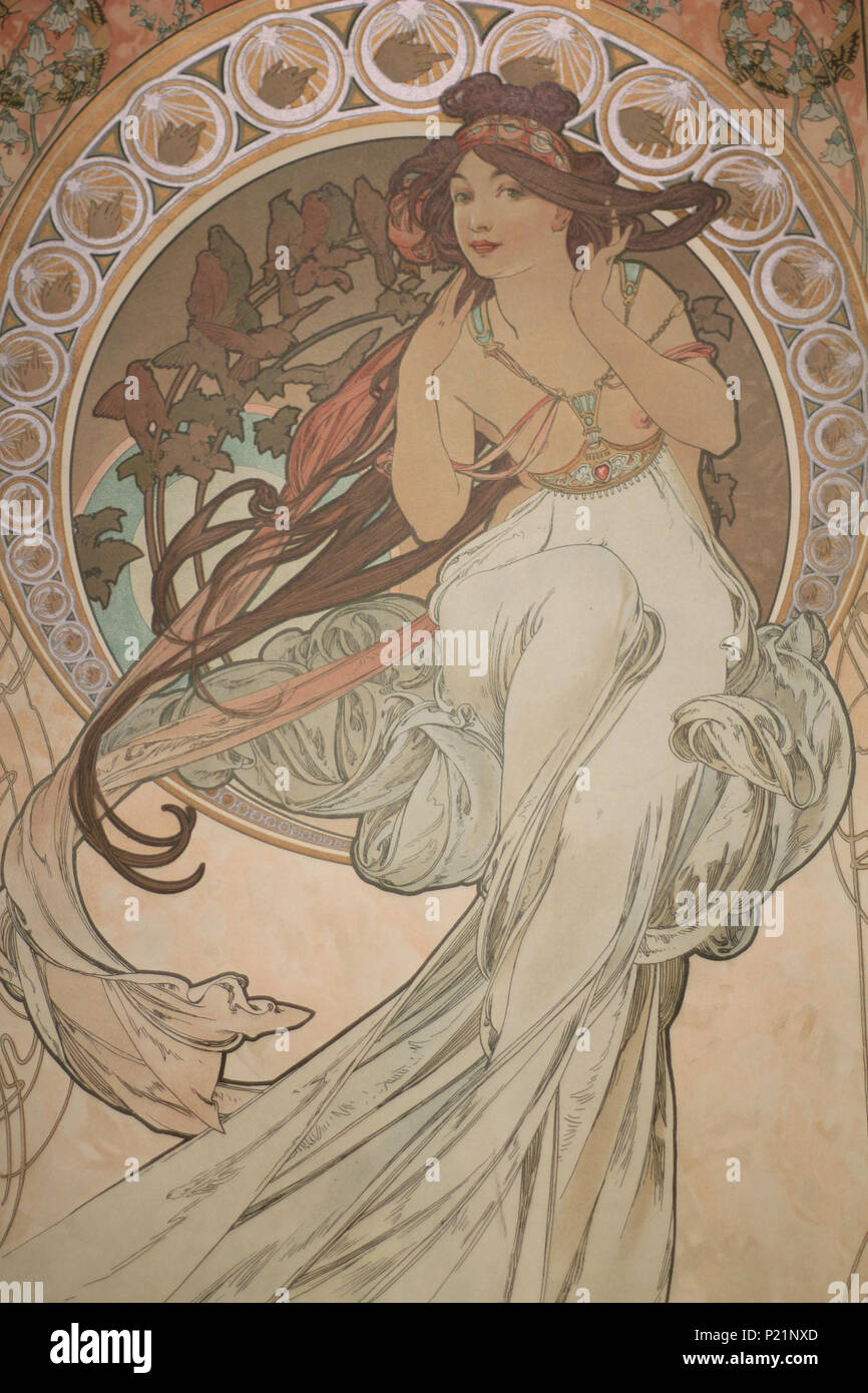 . Norsk bokmål: Alfons Mucha fotografert i Praha. English: Alphonse Mucha photographed in Prague. 7 May 2014, 14:57:17.   Alphonse Mucha (1860–1939)   Alternative names Alphonse Maria Mucha  Description Czech-Austro-Hungarian poster artist, lithographer, photographer, graphic designer, painter and postage stamp designer Czechoslovak photographer, painter, illustrator and patriot. Apart from his artistic production he was an advocate for the unification of Czekoslovakia for which he designed the first banknotes in 1918.  Date of birth/death 24 July 1860 14 July 1939  Location of birth/deat Stock Photo