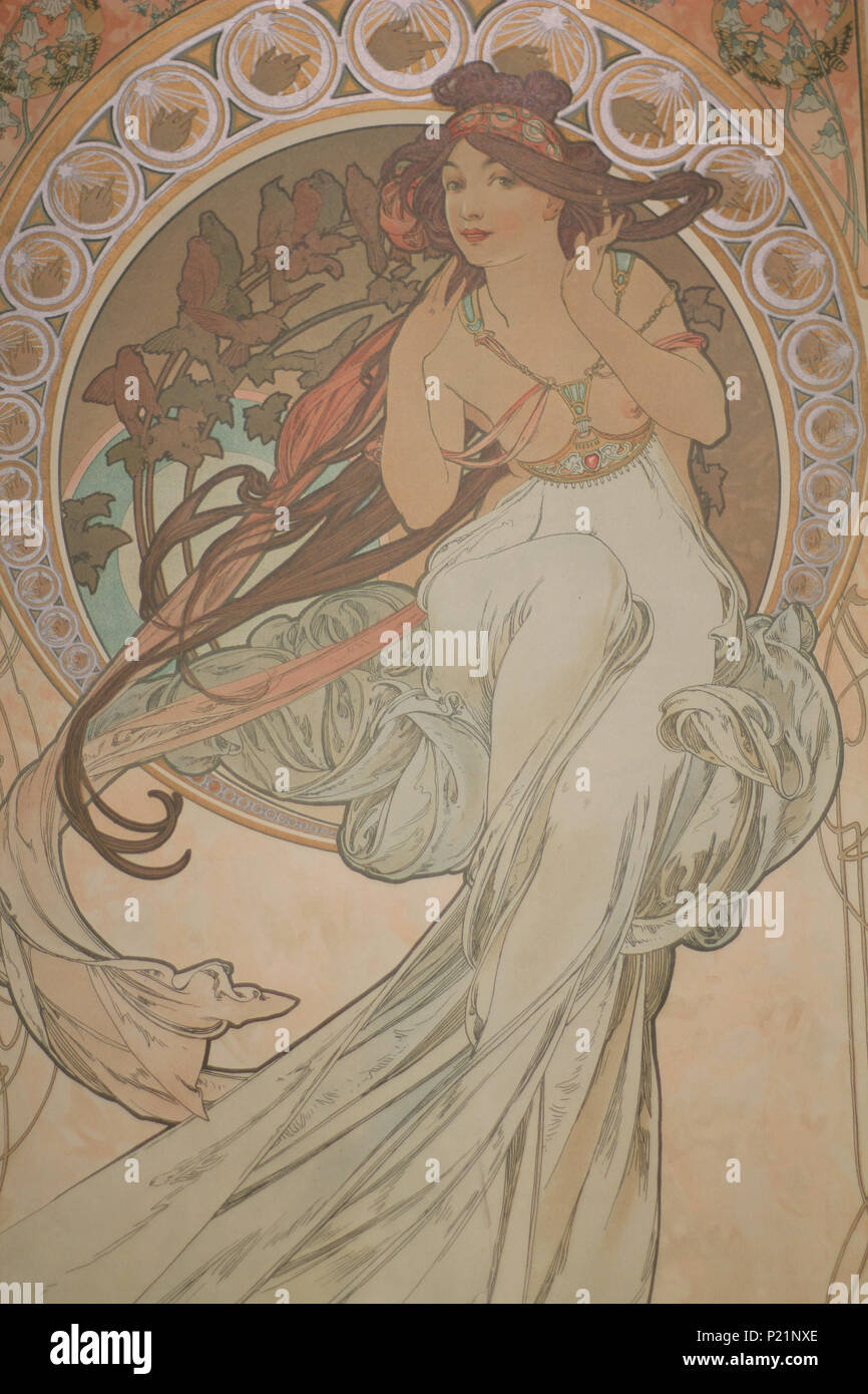 . Norsk bokmål: Alfons Mucha fotografert i Praha. English: Alphonse Mucha photographed in Prague. 7 May 2014, 14:57:44.   Alphonse Mucha (1860–1939)   Alternative names Alphonse Maria Mucha  Description Czech-Austro-Hungarian poster artist, lithographer, photographer, graphic designer, painter and postage stamp designer Czechoslovak photographer, painter, illustrator and patriot. Apart from his artistic production he was an advocate for the unification of Czekoslovakia for which he designed the first banknotes in 1918.  Date of birth/death 24 July 1860 14 July 1939  Location of birth/deat Stock Photo