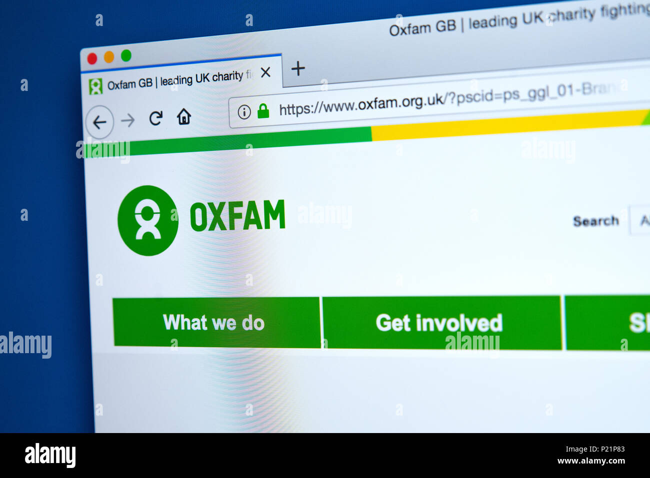 LONDON, UK - FEBRUARY 22ND 2018: The homepage of the official Website for Oxfam - the confederation of independent charitable organizations around the - Stock Image