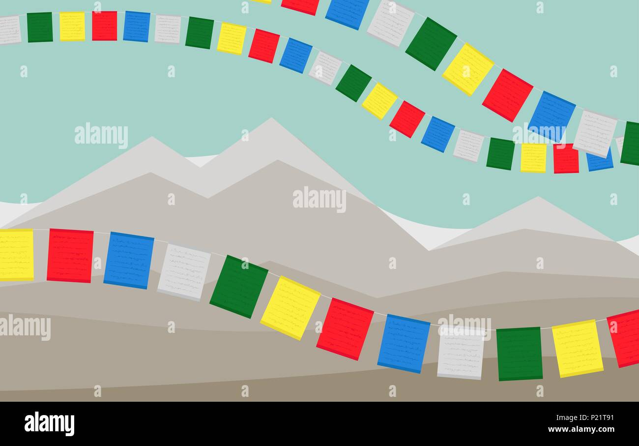 Tibetian Prayer Flags with Mountains on Background. - Stock Vector