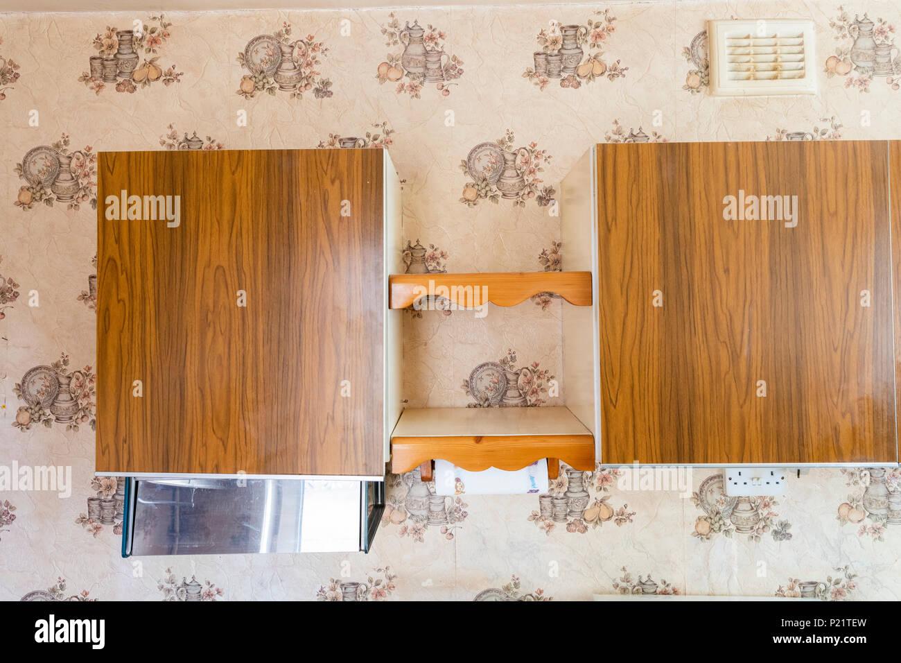 Mid Century Old Fashioned Worn Kitchen Cabinets Stock Photo Alamy