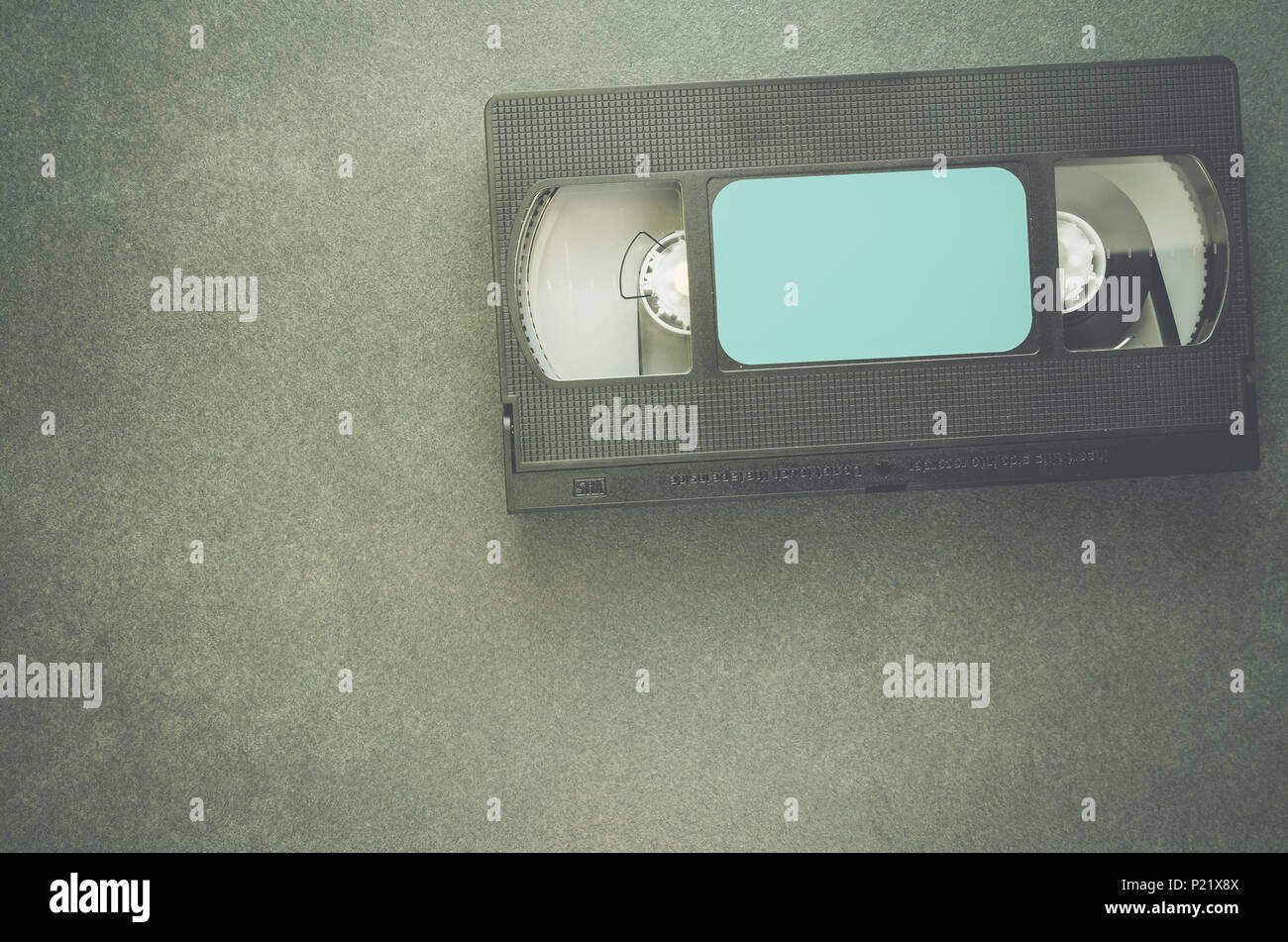 VHS compact magnetic tape analog recording cassette - top view - Stock Image