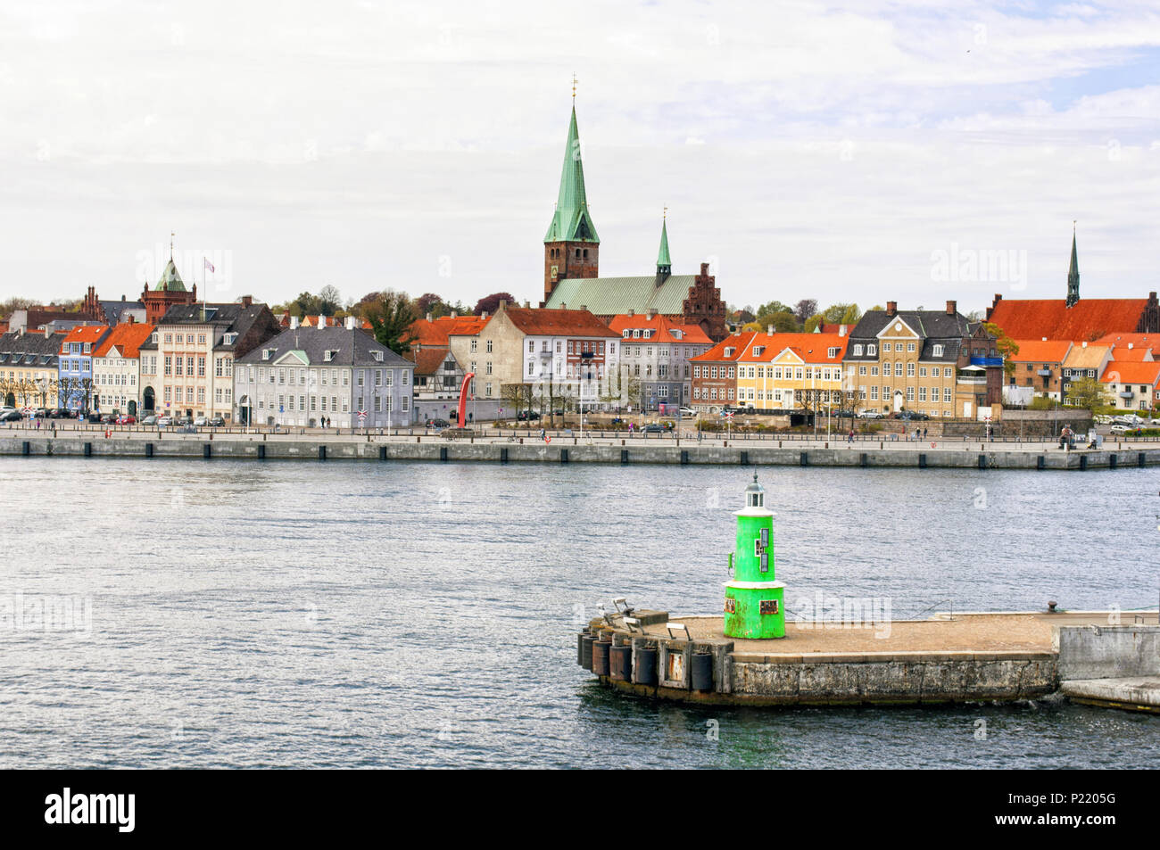 The harbor of the Scandinavian town of Helsingor. Denmark. - Stock Image