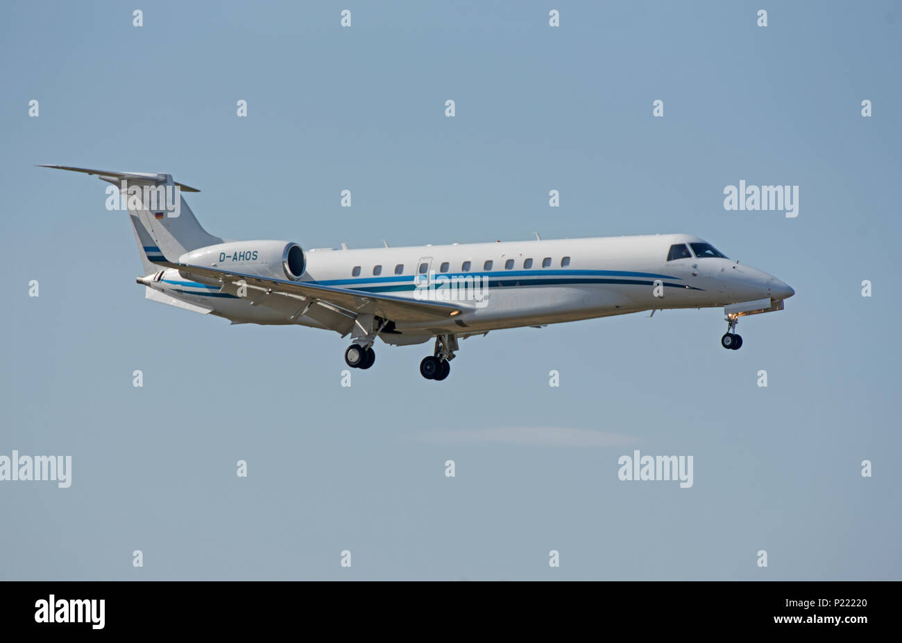 D-AHOS Air Hamburg Embraer-135BJ Legacy 650 on approach to Inverness Dalcross Airport. - Stock Image