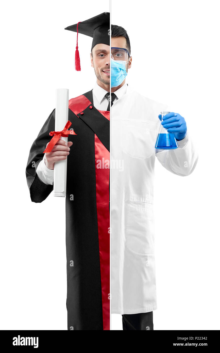 Comparison of chemist and university graduate's outlook. Chemist wearing chemise gown, protective mask, gloves, keeping beaker. Student wearing black and red graduation gown, keeping diploma. - Stock Image