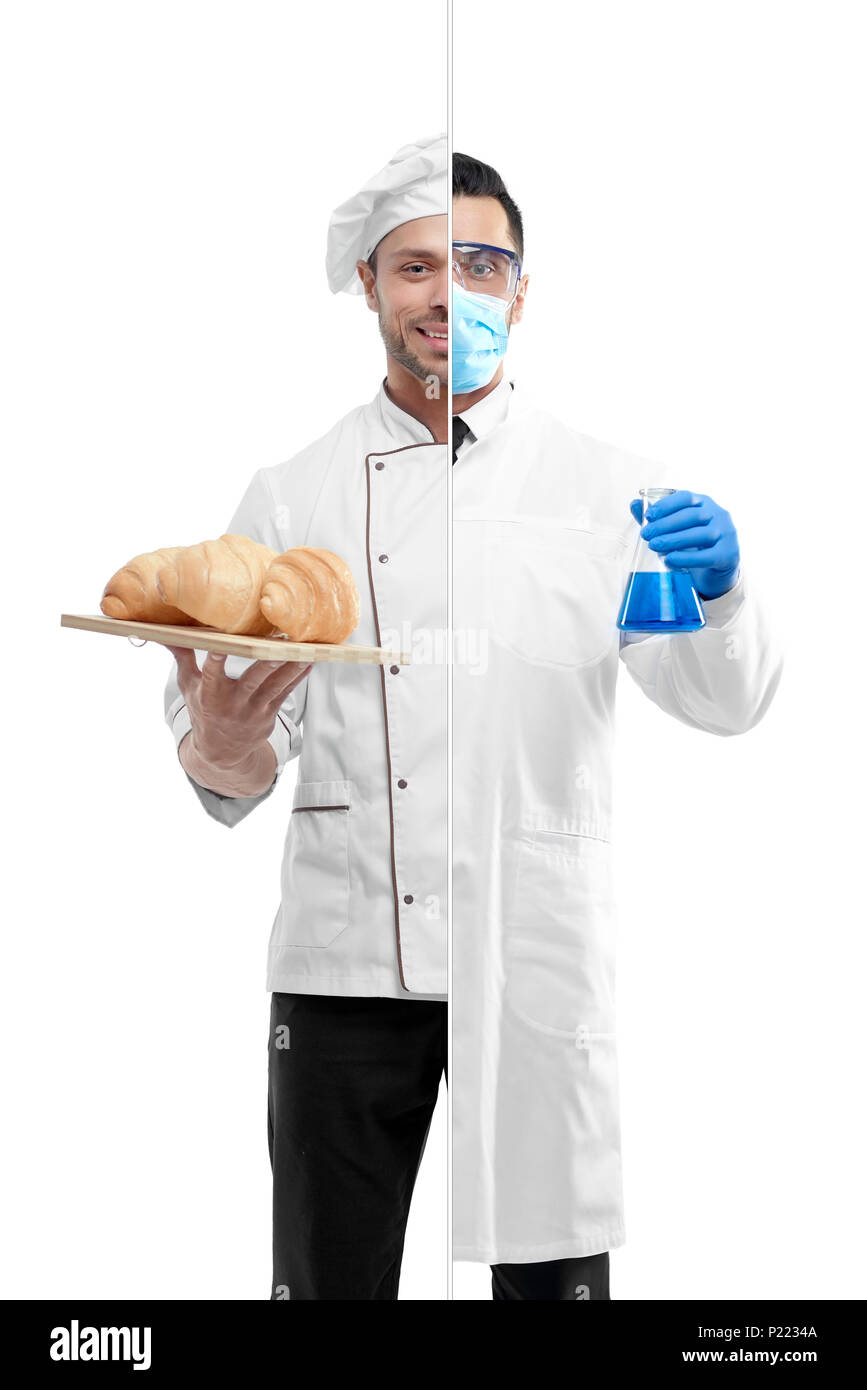 Photo comparison of chemist and chef's outlook. Chef wearing white chef's tunic, holing plate with fresh baked croissants. Chemist wearing chemise gown, protective mask, gloves, keeping beaker. - Stock Image