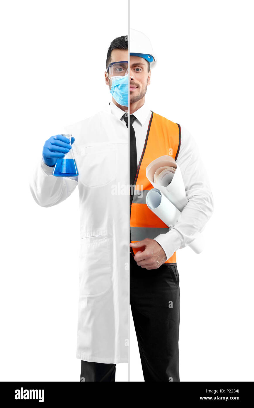 Comparison of chemist and architect's outlook. Architect wearing white shirt with black tie, orange vest, helmet, keeping papers. Chemist wearing chemise gown, protective mask, gloves, keeping beaker - Stock Image