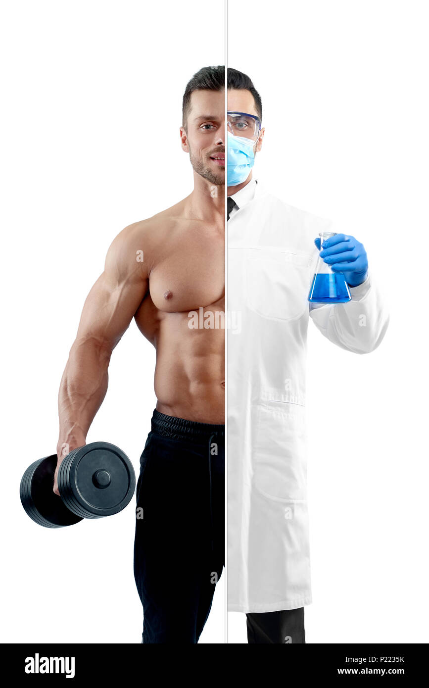 Photo comparison of chemist and strong bodybuilder's outlook. Fitnesstrainer holding heavy dumbbell, wearing black trousers. Chemist wearing chemise gown, protective mask, gloves, keeping beaker. - Stock Image