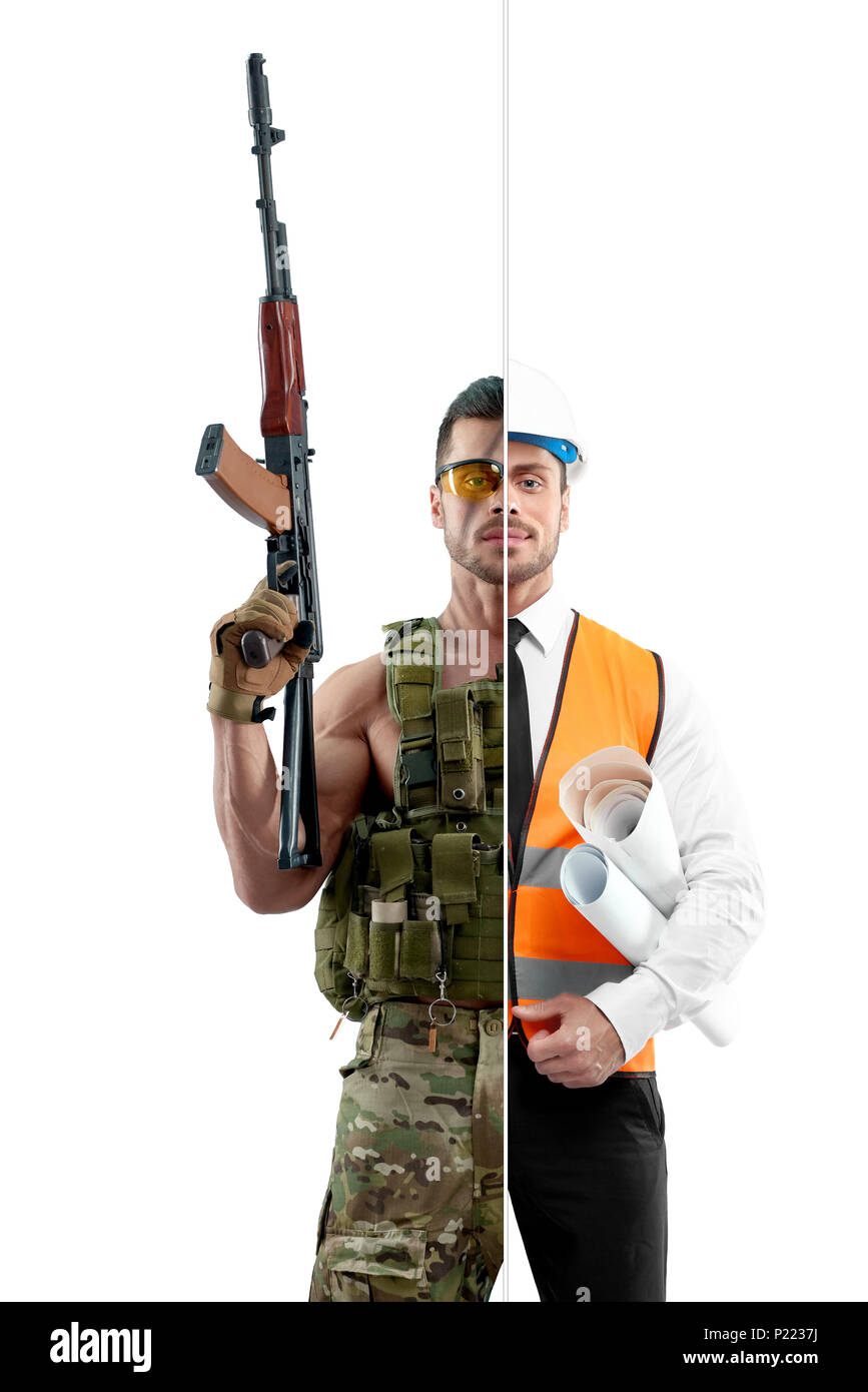 Comparison of military man and architect's outlook. Soldier wearing military uniform, Kalashnikov automatic machine. Architect wearing white shirt with black tie, orange vest, helmet, keeping papers. - Stock Image