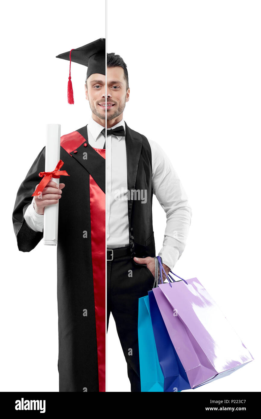 Photo comparison of university's graduate and concierge's outlook. Student wearing black and red graduation gown, keeping diploma. Attractive concierge wearing white shirt, classic suit, keeping bags. - Stock Image