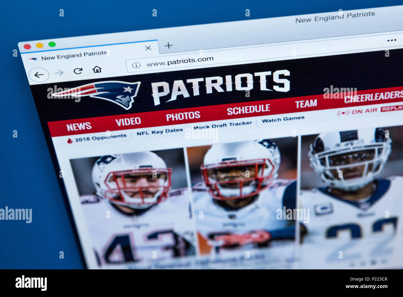 LONDON, UK - FEBRUARY 24TH 2018: The homepage of the official website for the New England Patriots - the American football team, on 24th February 2018 - Stock Image