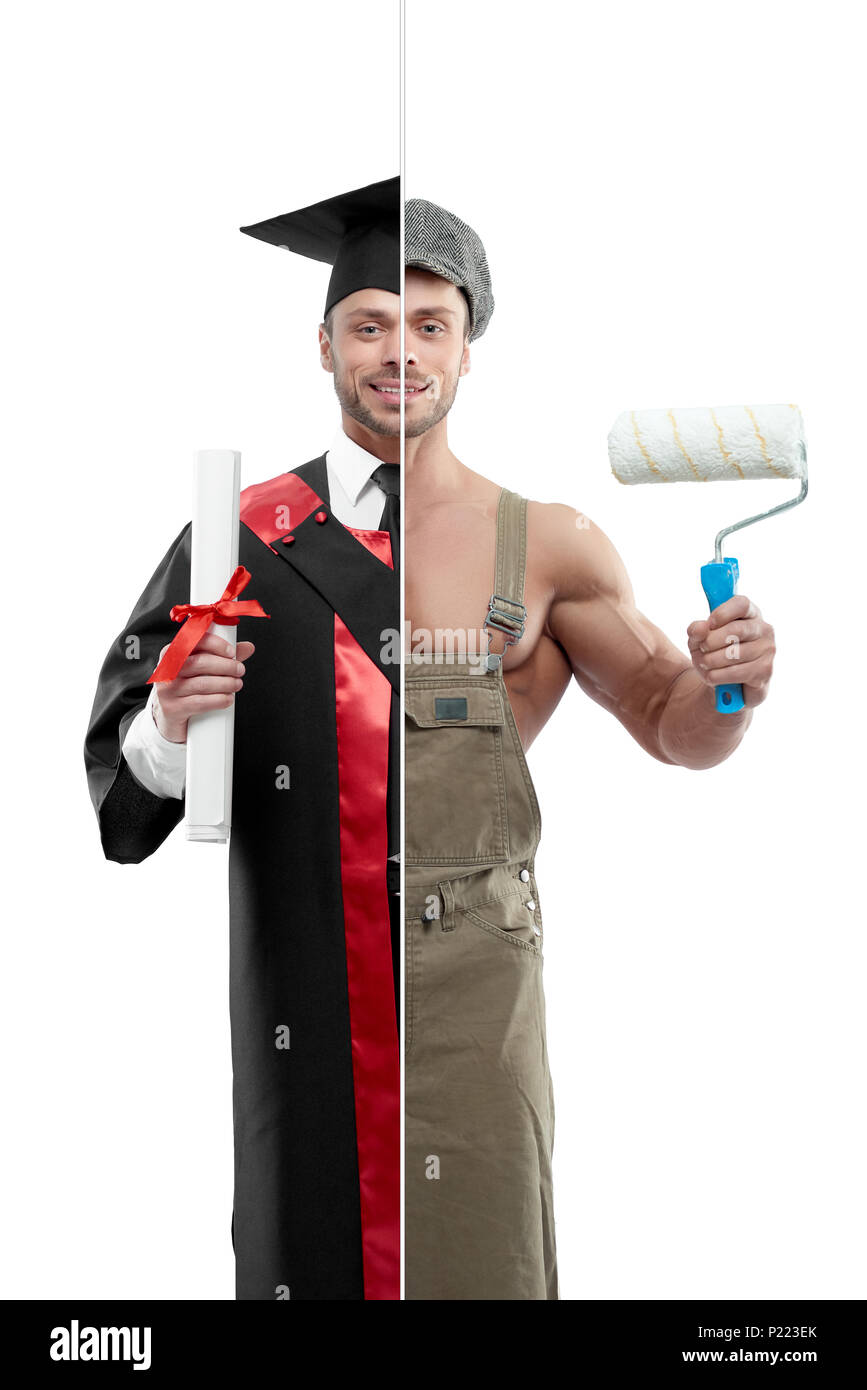 Photo comparison of university's graduate and painter's outlook. Student wearing black and red graduation gown, keeping diploma. Painter holding white paint roller, wearing khaki uniform and cap. - Stock Image