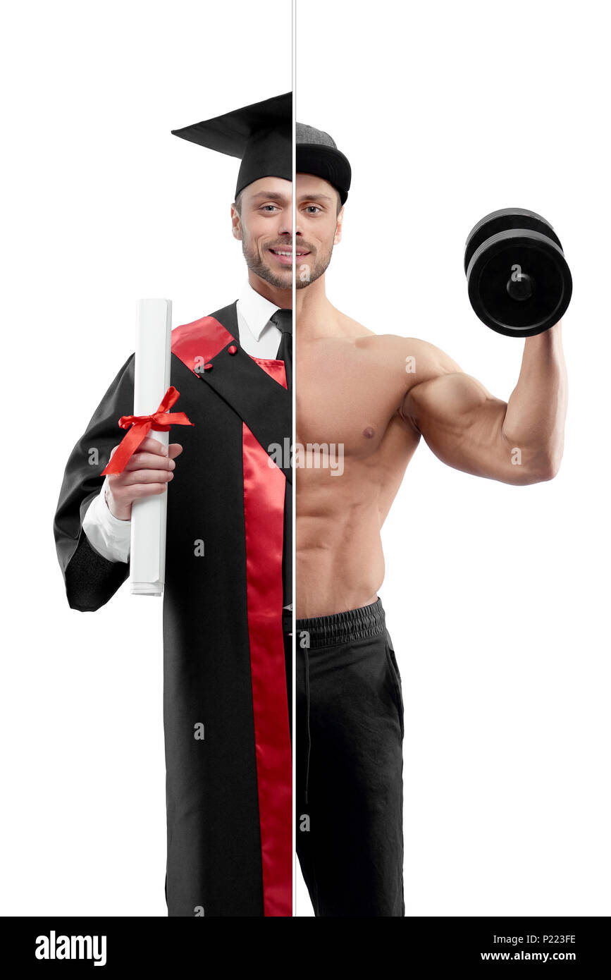 Photo comparison of university's graduate and fitnesstrainer outlook. Student wearing black and red graduation gown, keeping diploma. Bodubuilder holding heavy dumbbell, wearing black trousers, cap. - Stock Image