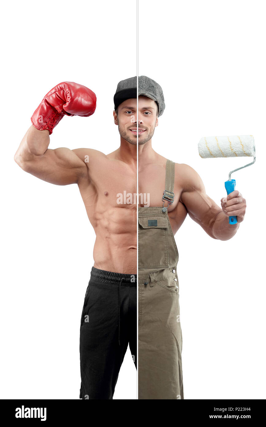 Photo comparison of painter's and boxer's outlook. Painter holding white paint roller, wearing khaki uniform and cap. Boxer wearing boxer gloves ,sport trousers. Both having sporty fit body. - Stock Image