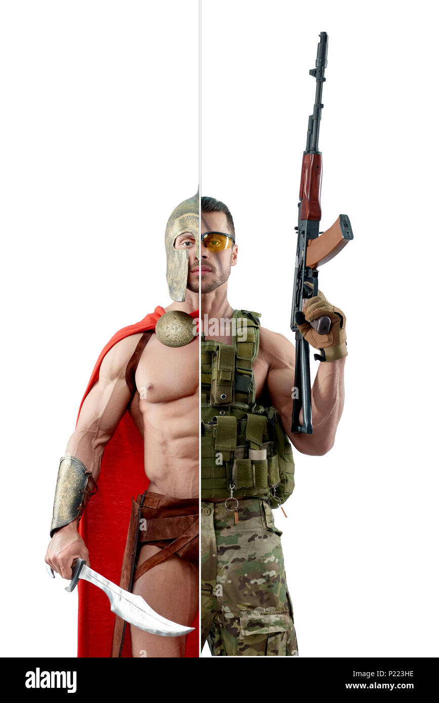 Comparison of ancient modern warriors. Soldier wearing khaki military uniform and keeping Kalashnikov automatic machine. Ancient Spartan wearing red cape, protective metallic helmet and holding sword. - Stock Image