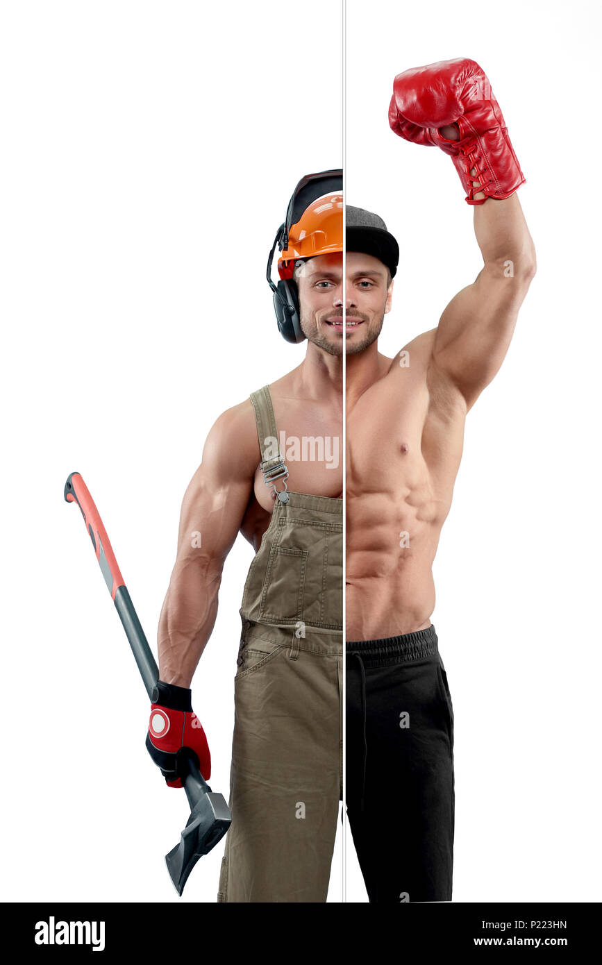 Photo comparison of boxer and woodcutter professions. Boxer wearing boxer gloves and sport trousers. Woodcutter wearing uniform, protective helmet and keeping an axe. Having athletic body, smiling. - Stock Image