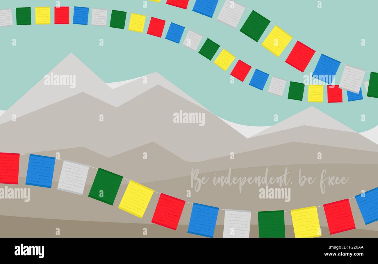 Card to Remember of International Tibet Day. Be independent, be free. - Stock Vector
