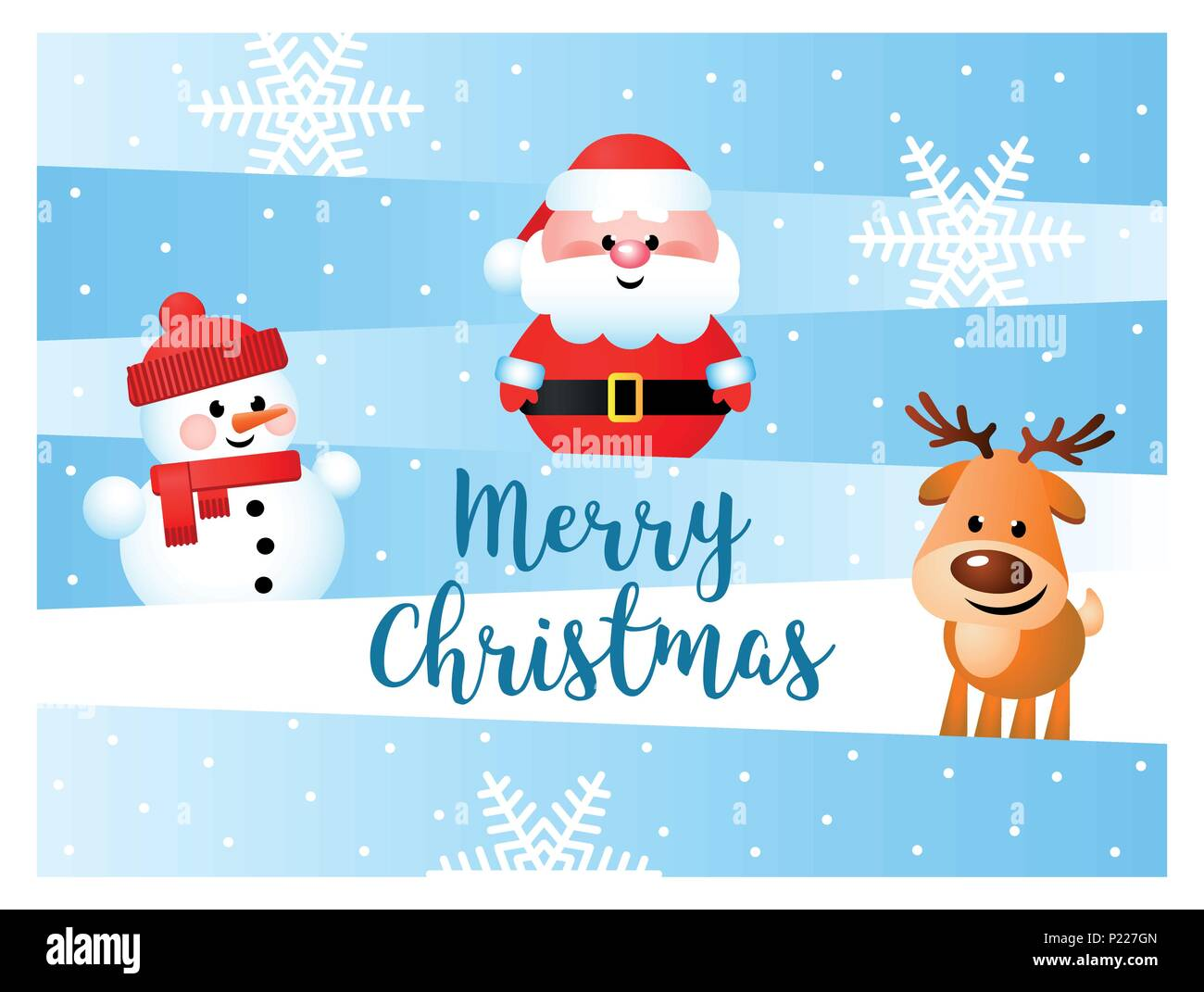 Merry Christmas. Greeting card with funny cartoon characters. Santa ...