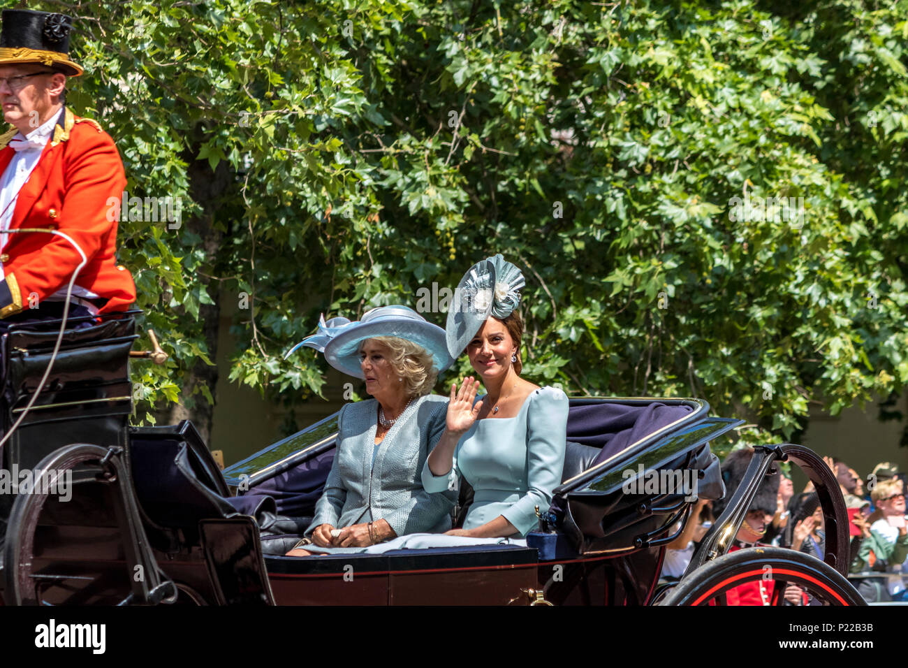 Duchess Of Cambridge,Kate Middleton & Duchess Of Cornwall,Camilla,ride together in a carriage, wave to the crowds at The Trooping Of The Colour 2018 - Stock Image