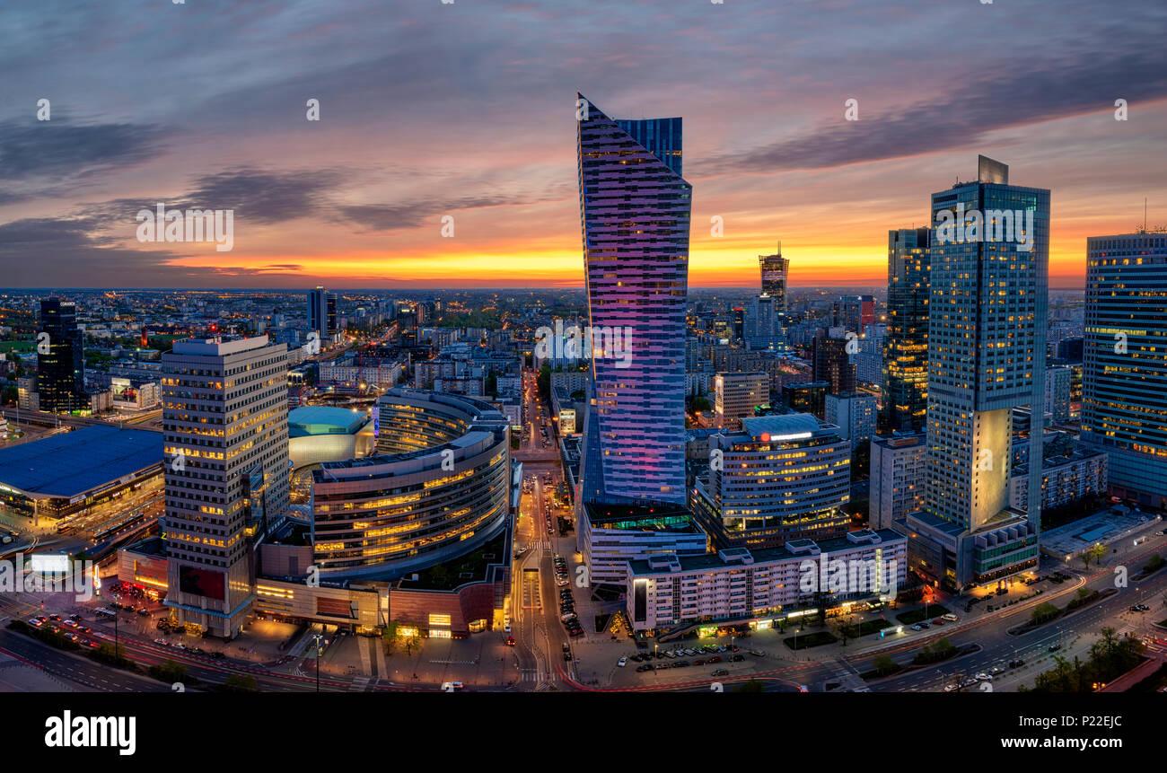panoramic view of modern sentrum Warsaw during sunset - Stock Image