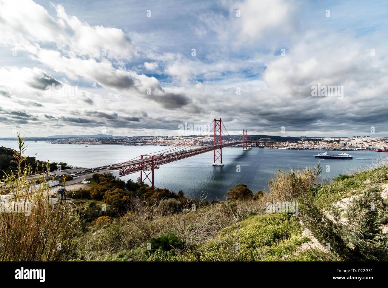 lisboa bridge view Ponte 25 de Abril Stock Photo
