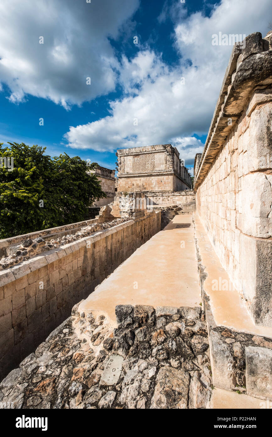 Ancient Maya Ruins, Nunnery Quadrangle, Uxmal Archaeological Site, Yucatan, Mexico - Stock Image
