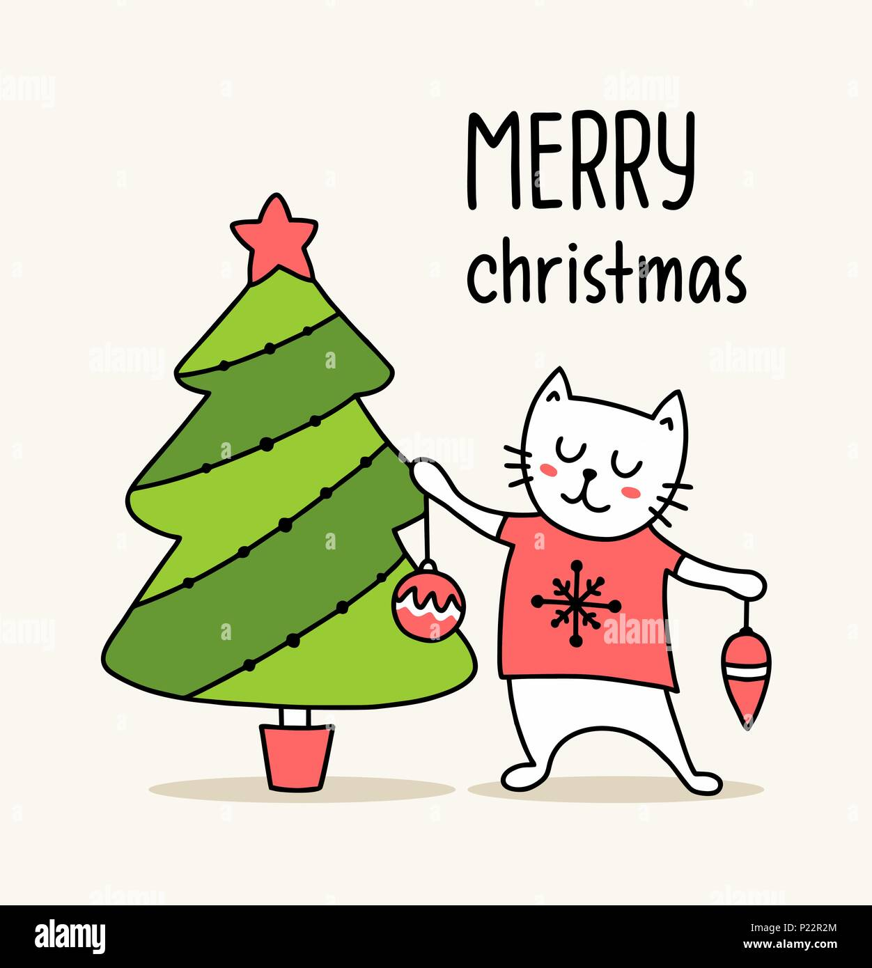Black And White Cat Christmas Stock Vector Images - Alamy