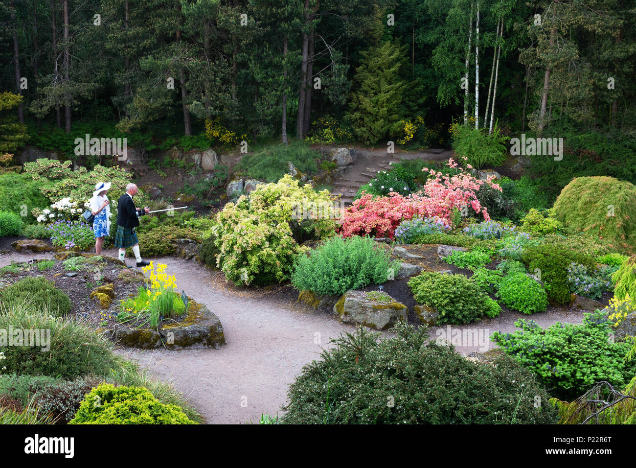 Visitors walking in the Royal Botanic Garden, Edinburgh, Scotland UK - Stock Image
