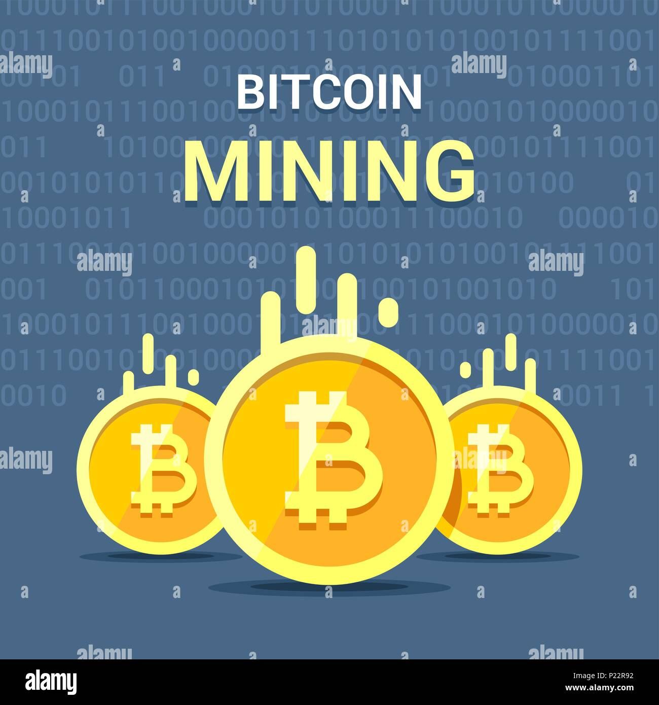Colorful Flat Vector Illustration Of Cryptocurrency Bitcoin Process Mining Concept