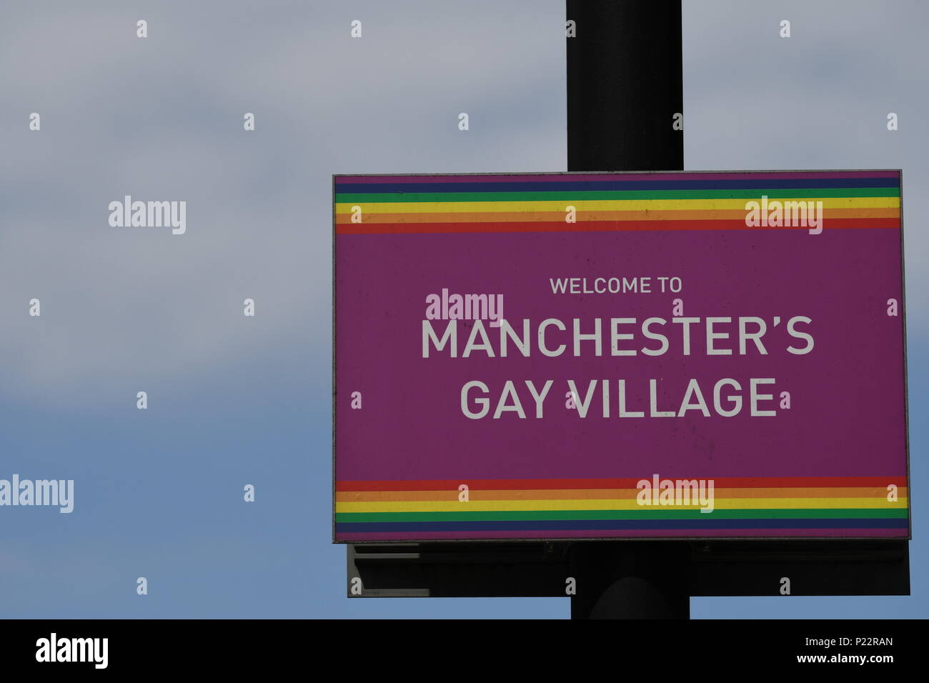 Manchester Gay Village sign - Stock Image