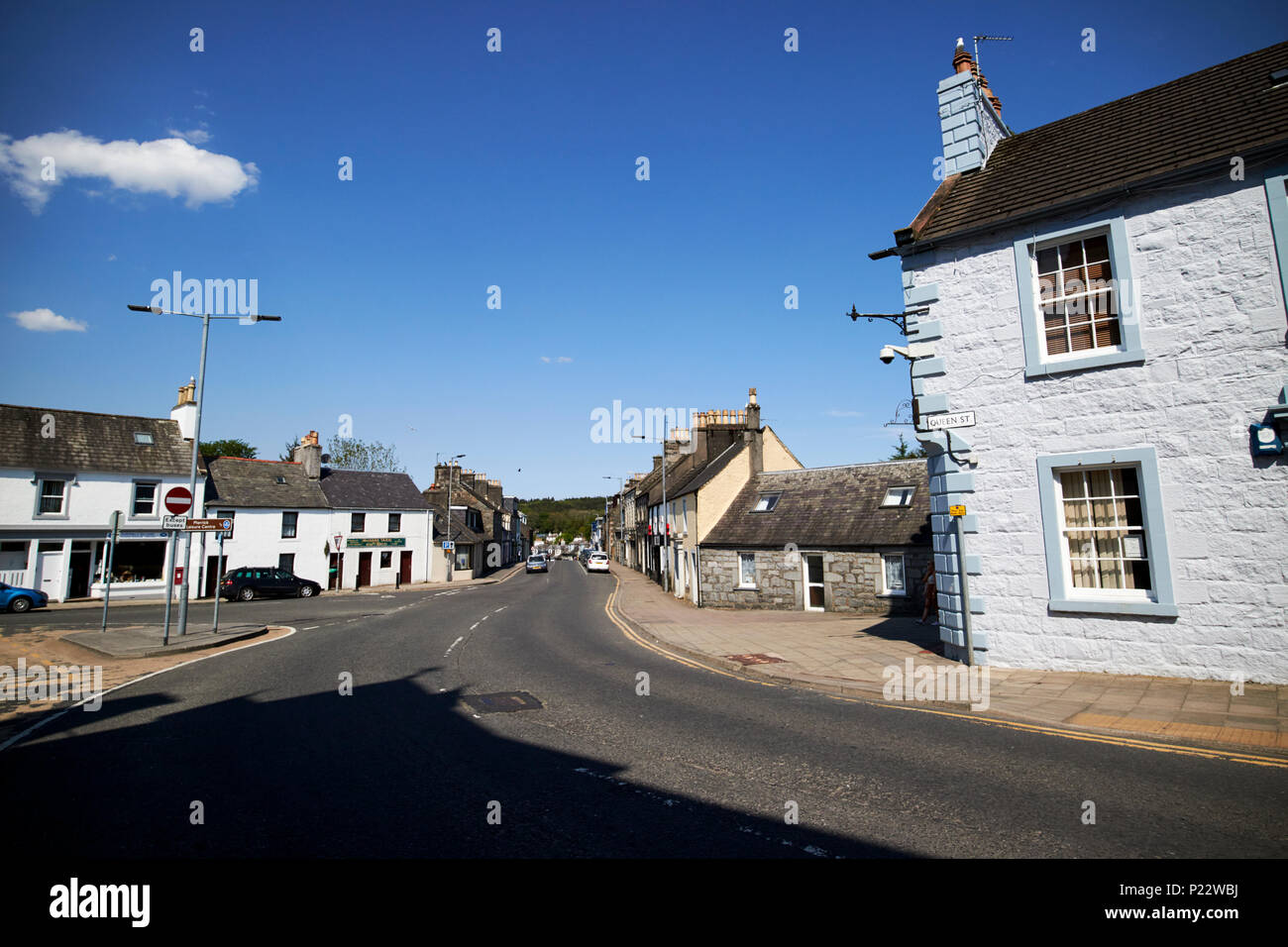 The junction of Queen and Albert streets at Dashwood Square in the centre Newton Stewart Dumfries and Galloway Scotland UK - Stock Image