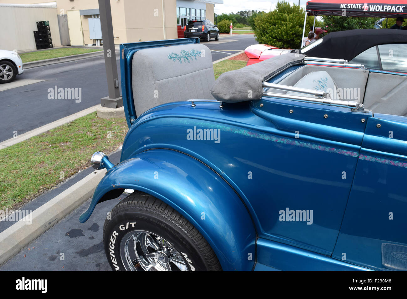 A custom 1931 Ford with a rumble seat for extra passengers. Stock Photo