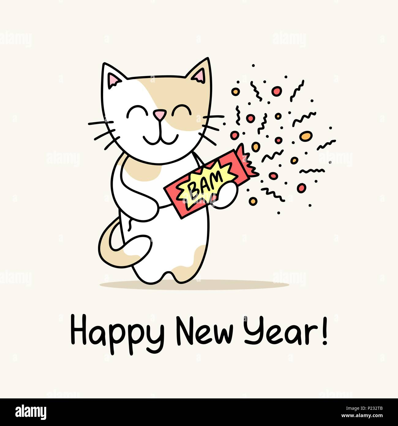 happy new year greeting card with cute cat that holds the slapstick in his hands funny flat vector animal illustration poster