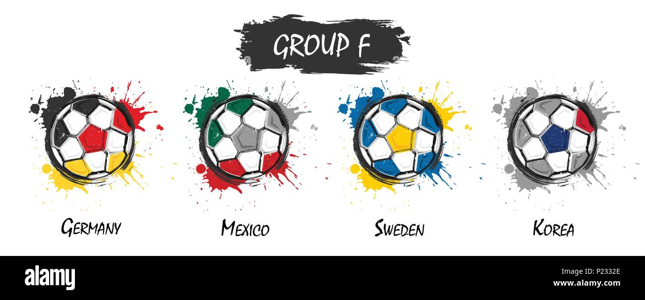 96fff8f7387 Set of national football team group F . Realistic watercolor art paint with  stained splash color . Flat design . Vector for international world champi