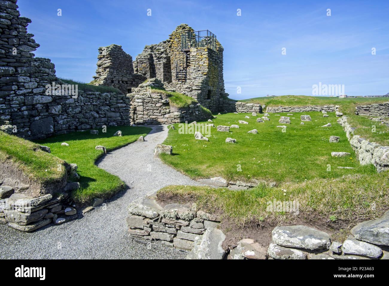 17th century laird's house at Jarlshof, archaeological site prehistoric and Norse settlements at Sumburgh Head, Shetland Islands, Scotland, UK - Stock Image