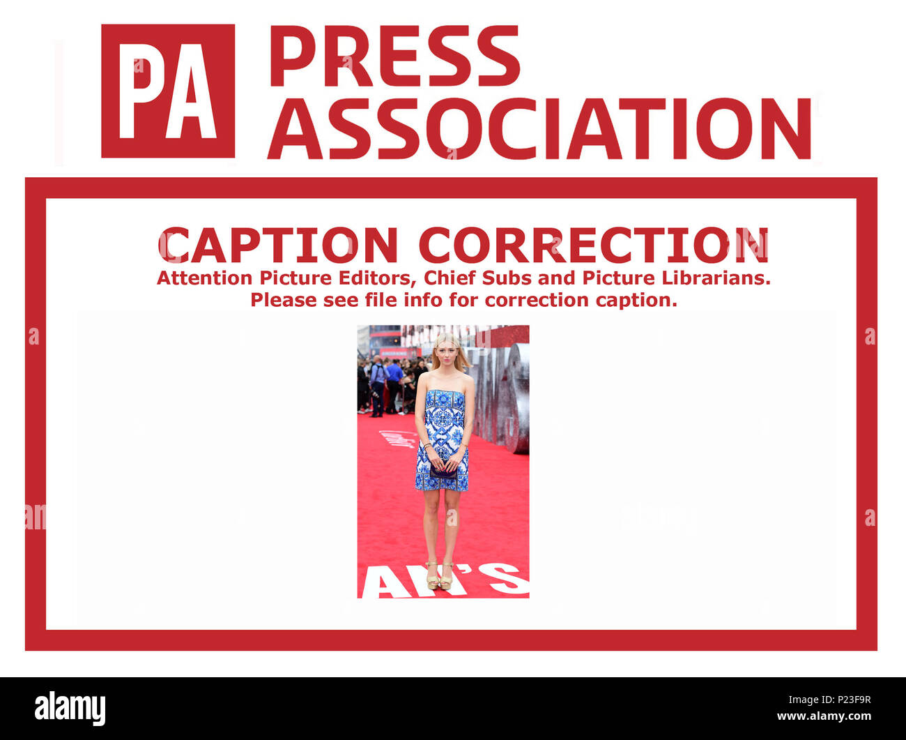 CAPTION CORRECTION CHANGING NAME OF PERSON IN IMAGE. IMAGES WILL BE RETRANSMITTED SHORTLY WITH CORRECTED NAME CORRECT CAPTION SHOULD READ Isabel Getty attending the European premiere of Oceans 8, held at the Cineworld in Leicester Square, London. - Stock Image
